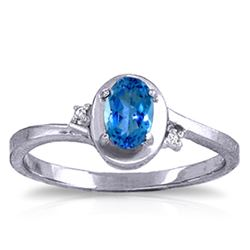 ALARRI 0.51 Carat 14K Solid White Gold Rings Diamond Blue Topaz