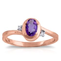 ALARRI 0.51 Carat 14K Solid Rose Gold Rings Diamond Purple Amethyst