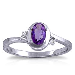 ALARRI 0.51 Carat 14K Solid White Gold Rings Diamond Purple Amethyst