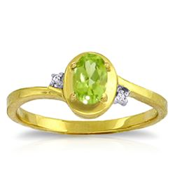ALARRI 0.51 Carat 14K Solid Gold Rings Diamond Peridot