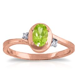 ALARRI 0.51 Carat 14K Solid Rose Gold Rings Diamond Peridot