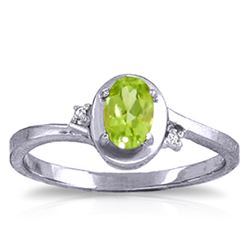 ALARRI 0.51 CTW 14K Solid White Gold Rings Diamond Peridot