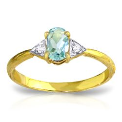 ALARRI 0.46 CTW 14K Solid Gold Being In Love Aquamarine Diamond Ring