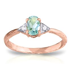 ALARRI 0.46 Carat 14K Solid Rose Gold Oval Aquamarine Diamond Ring