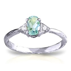 ALARRI 0.46 Carat 14K Solid White Gold Sur Ma Vie Aquamarine Diamond Ring