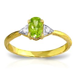 ALARRI 0.46 Carat 14K Solid Gold For Your Eyes Peridot Diamond Ring