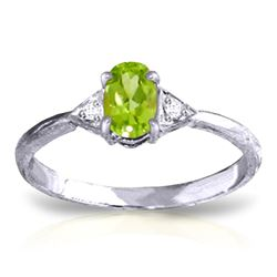 ALARRI 0.46 Carat 14K Solid White Gold L'aurora Peridot Diamond Ring