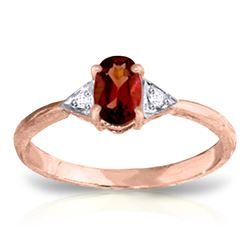 ALARRI 0.46 Carat 14K Solid Rose Gold Oval Garnet Diamond Ring
