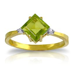 ALARRI 1.77 Carat 14K Solid Gold Stirrings Peridot Diamond Ring