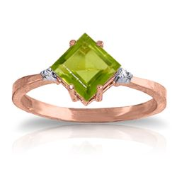 ALARRI 1.77 CTW 14K Solid Rose Gold Espirit Peridot Diamond Ring