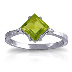 ALARRI 1.77 Carat 14K Solid White Gold Meant For Me Peridot Diamond Ring