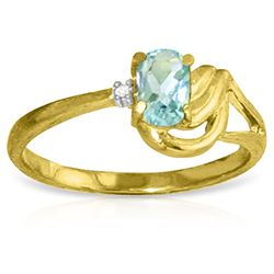 ALARRI 0.46 Carat 14K Solid Gold Lament Over Love Aquamarine Diamond Ring