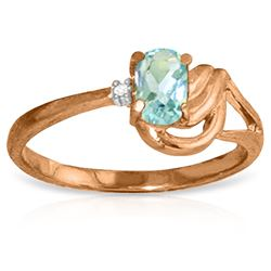 ALARRI 14K Solid Rose Gold Ring w/ Diamond & Aquamarine