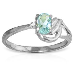 ALARRI 0.46 Carat 14K Solid White Gold Moonriver Aquamarine Diamond Ring