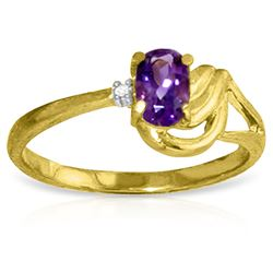 ALARRI 0.46 Carat 14K Solid Gold Ring Diamond Amethyst