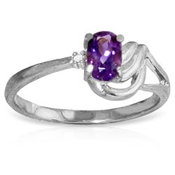 ALARRI 0.46 Carat 14K Solid White Gold Ring Diamond Amethyst