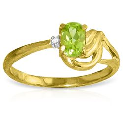 ALARRI 0.46 CTW 14K Solid Gold Here Comes Love Peridot Diamond Ring