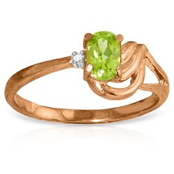 ALARRI 14K Solid Rose Gold Ring w/ Natural Diamond & Peridot