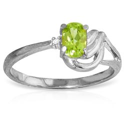 ALARRI 0.46 CTW 14K Solid White Gold Small Pleasures Peridot Diamond Ring
