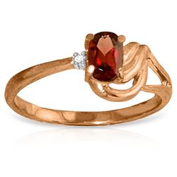 ALARRI 14K Solid Rose Gold Ring w/ Natural Diamond & Garnet