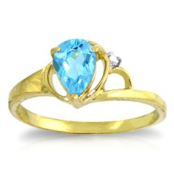 ALARRI 0.66 Carat 14K Solid Gold Unwritten Novel Blue Topaz Diamond Ring