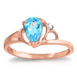ALARRI 0.66 Carat 14K Solid Rose Gold Victoria Blue Topaz Diamond Ring