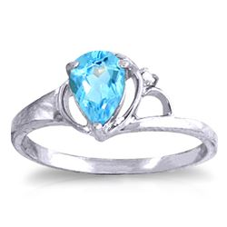 ALARRI 0.66 Carat 14K Solid White Gold Heart To Heart Blue Topaz Diamond Ring