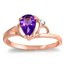 ALARRI 0.66 Carat 14K Solid Rose Gold Victoria Amethyst Diamond Ring