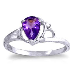 ALARRI 0.66 Carat 14K Solid White Gold Love Is Alive Amethyst Diamond Ring