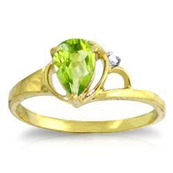 ALARRI 0.66 Carat 14K Solid Gold You Surprise Me Peridot Diamond Ring