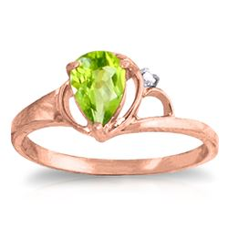 ALARRI 0.66 Carat 14K Solid Rose Gold Victoria Peridot Diamond Ring