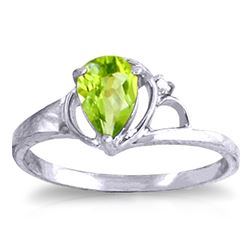 ALARRI 0.66 Carat 14K Solid White Gold Relish Joy Peridot Diamond Ring