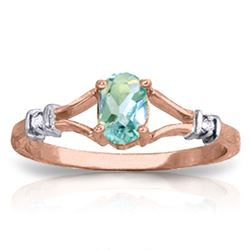 ALARRI 0.46 Carat 14K Solid Rose Gold Jenny Blue Topaz Diamond Ring