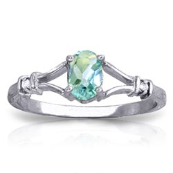 ALARRI 0.46 CTW 14K Solid White Gold Tears Dry Blue Topaz Diamond Ring