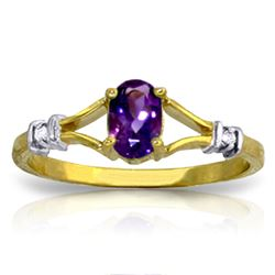 ALARRI 0.46 CTW 14K Solid Gold Love Not Hazardous Amethyst Diamond Ring