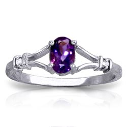 ALARRI 0.46 Carat 14K Solid White Gold Love Cuisine Amethyst Diamond Ring