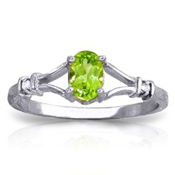 ALARRI 0.46 Carat 14K Solid White Gold All Smiles Peridot Diamond Ring