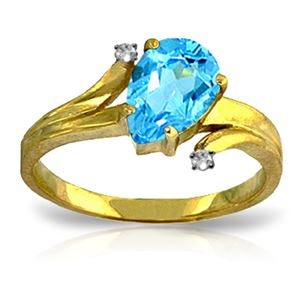 ALARRI 1.51 Carat 14K Solid Gold Take My Hand Blue Topaz Diamond Ring