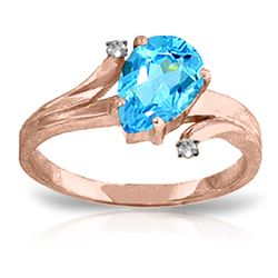 ALARRI 1.51 Carat 14K Solid Rose Gold Lovelight Blue Topaz Diamond Ring