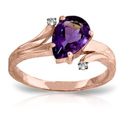 ALARRI 1.51 Carat 14K Solid Rose Gold Lovelight Amethyst Diamond Ring