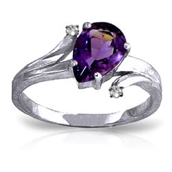 ALARRI 1.51 Carat 14K Solid White Gold Great Gesture Amethyst Diamond Ring