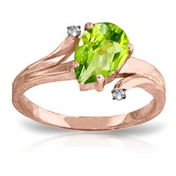 ALARRI 1.51 Carat 14K Solid Rose Gold Lovelight Peridot Diamond Ring