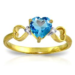 ALARRI 0.96 Carat 14K Solid Gold Light Of Mine Blue Topaz Diamond Ring