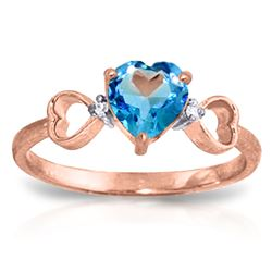 ALARRI 0.96 CTW 14K Solid Rose Gold Tri Heart Blue Topaz Diamond Ring