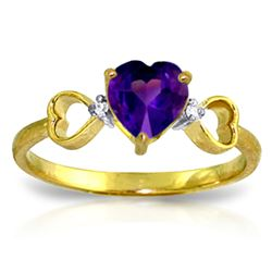 ALARRI 0.96 CTW 14K Solid Gold Color Me Purple Amethyst Diamond Ring