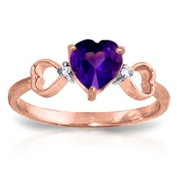 ALARRI 0.96 CTW 14K Solid Rose Gold Tri Heart Amethyst Diamond Ring