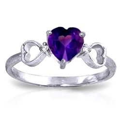 ALARRI 0.96 Carat 14K Solid White Gold Same Old Song Amethyst Diamond Ring