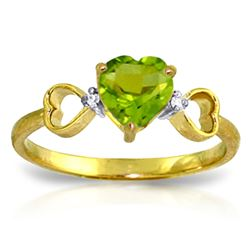 ALARRI 0.96 Carat 14K Solid Gold Not Sugarcoated Peridot Diamond Ring