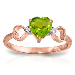ALARRI 0.96 CTW 14K Solid Rose Gold Tri Heart Peridot Diamond Ring