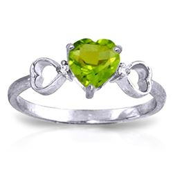 ALARRI 0.96 Carat 14K Solid White Gold Have The Stage Peridot Diamond Ring